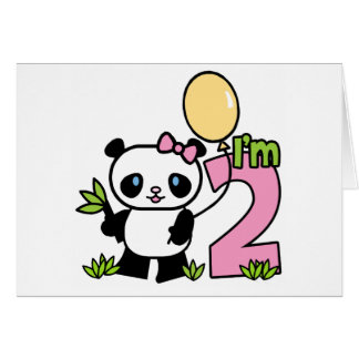 Panda Girl 2nd Birthday Invitations