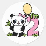 Panda Girl 2nd Birthday Round Sticker