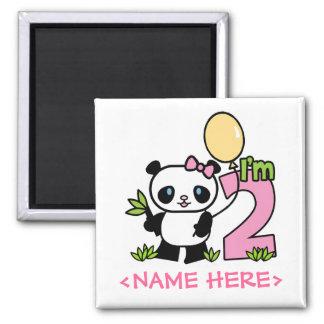 Panda Girl 2nd Birthday Square Magnet