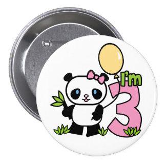 Panda Girl 3rd Birthday 7.5 Cm Round Badge