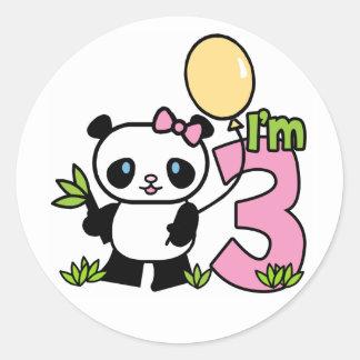 Panda Girl 3rd Birthday Classic Round Sticker