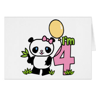Panda Girl 4th Birthday Invitations