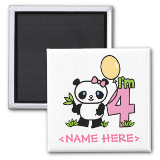 Panda Girl 4th Birthday Square Magnet