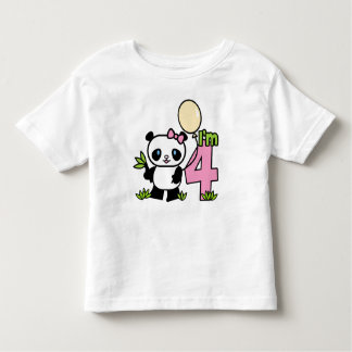 Panda Girl 4th Birthday Toddler T-Shirt