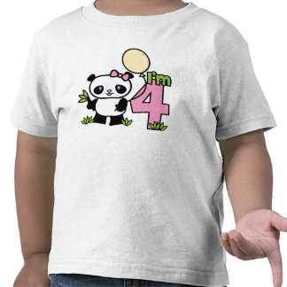 Panda Girl 4th Birthday Shirts