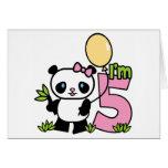 Panda Girl 5th Birthday Invitations Greeting Card