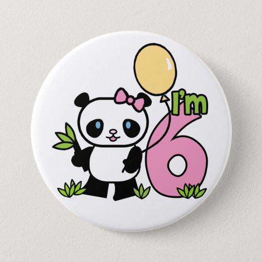 Panda Girl 6th Birthday 7.5 Cm Round Badge