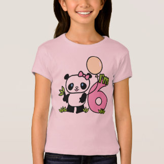 Panda Girl 6th Birthday T-Shirt