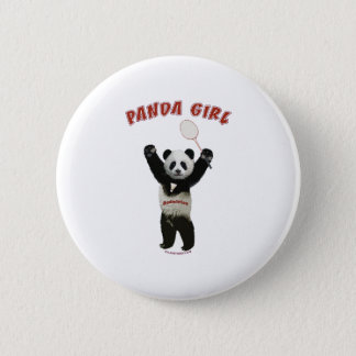 Panda Girl Badminton 6 Cm Round Badge