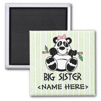 Panda Girl Big Sister Square Magnet