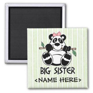Panda Girl Big Sister Square Magnet