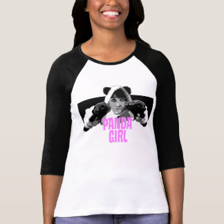 Panda Girl Black Sleeve T-Shirt