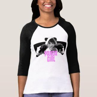Panda Girl Black Sleeve T Shirts