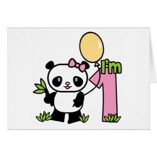 Panda Girl First Birthday Invitations