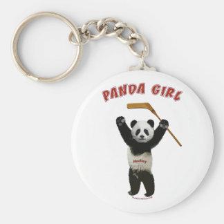 Panda Girl Hockey Bear Basic Round Button Key Ring
