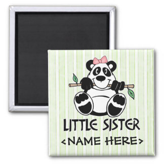 Panda Girl Little Sister Square Magnet