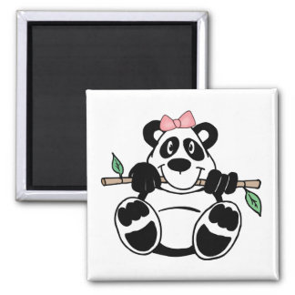 Panda Girl Square Magnet