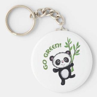 PANDA GO GREEN BASIC ROUND BUTTON KEY RING
