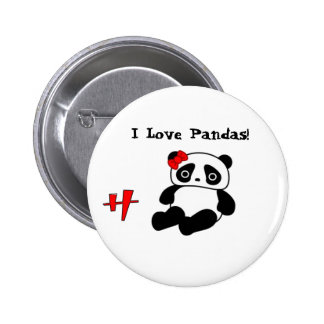Panda, h, I Love Pandas! - Customized 6 Cm Round Badge