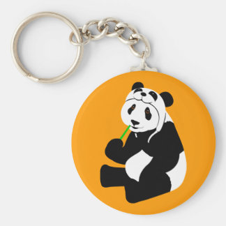 Panda Hat Basic Round Button Key Ring