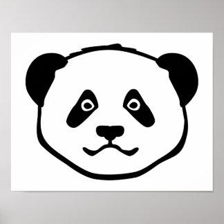 Panda head face poster