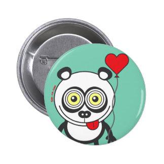 Panda, heart balloon, feeling crazy in love 6 cm round badge