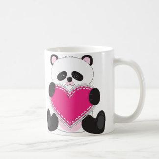 Panda Heart Basic White Mug