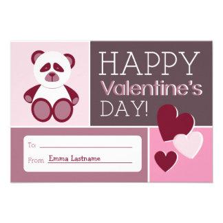 Panda Hearts Kids School Classroom Valentine Personalized Invites