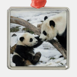 Panda High Five Silver-Colored Square Decoration