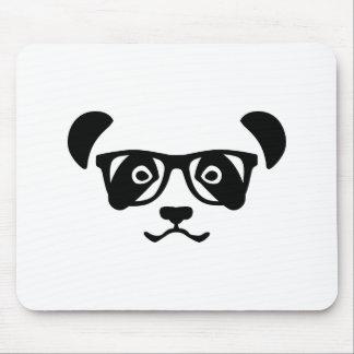 Panda hipster nerd mouse pad