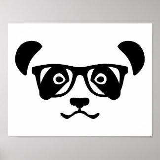 Panda hipster nerd poster