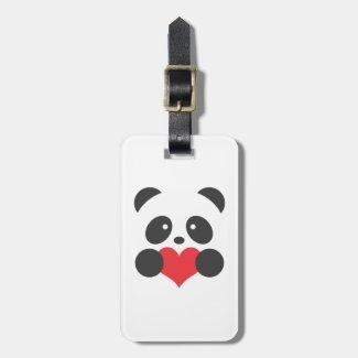 Panda holding a heart luggage tag