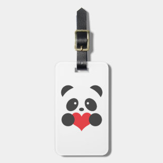 Panda holding a heart luggage tag