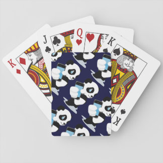 Panda holding a smartphone playing cards