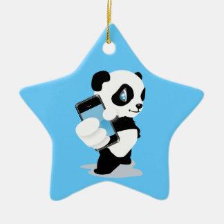 Panda holding an iPhone Ceramic Star Decoration