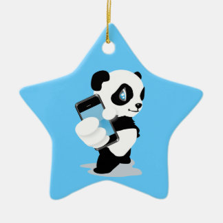 Panda holding an iPhone Christmas Ornament