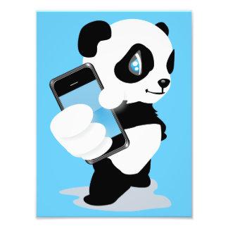 Panda holding an iPhone Photographic Print