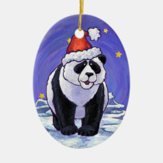 Panda Holiday Christmas Ornament