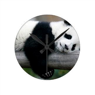 Panda Hugging Post Round Clock