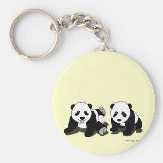 Panda Hugs Basic Round Button Key Ring