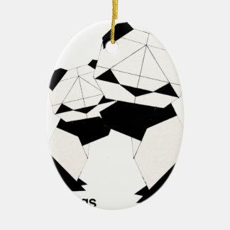 panda hugs ceramic oval decoration