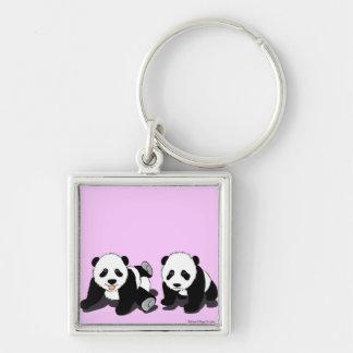 Panda Hugs Silver-Colored Square Key Ring