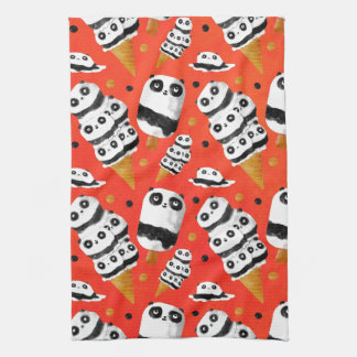 Panda Ice Cream Pattern Tea Towel