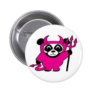 Panda in Pink Devil Costume 6 Cm Round Badge