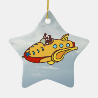 Panda in plane christmas ornament