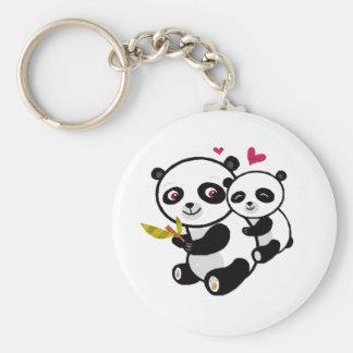 Panda Love <3 Basic Round Button Key Ring