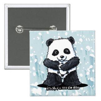 Panda Love 15 Cm Square Badge