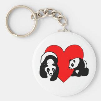 Panda Love Basic Round Button Key Ring