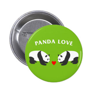 Panda Love (Green) 6 Cm Round Badge