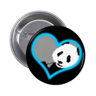 panda love. neon light. 6 cm round badge